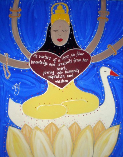 Angela Yarber, painting Saraswati