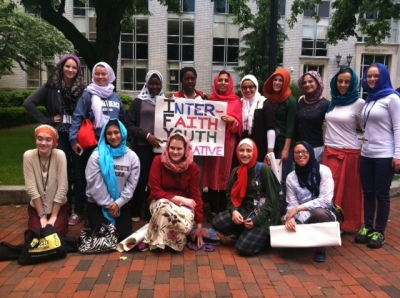 The IFYI women after Jummah gathered for a picture with our scarves.