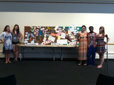 The art interest group next to the mural.