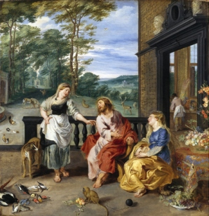 Jan Brueghel the Younger (1601-1678) and Peter Paul Rubens (1577-1640)  Christ in the House of Martha and Mary , c.1628