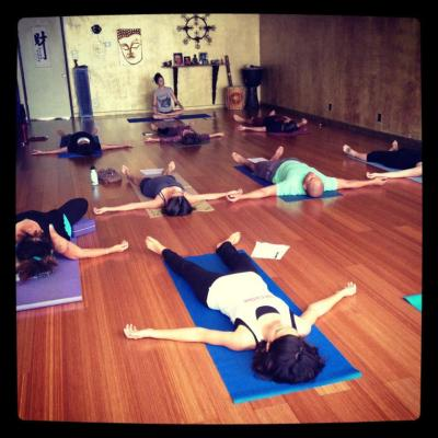 The author in corpse pose, Trilogy Yoga Studio, Long Beach, CA
