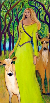Flidais, Celtic Goddess painting by Judith Shaw