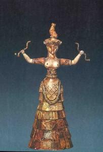 snake goddess blue background