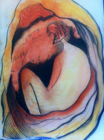 Jassy Watson 'Return to the Womb'  Pastel on Paper