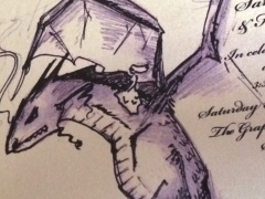 My sister drew this picture of me, riding on the back of a giant dragon, for my wedding invitation.