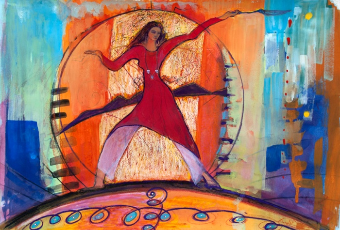 Gaia Wields Her Justice painting by Judith Shaw