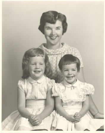 Author (on right)  with mom and sister