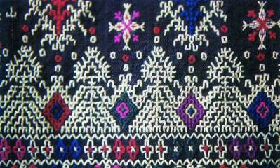 Dancing Goddess figures on embroidered apron, Razgrad, Bulgaria, 19th C. Ethnographic Museum, Sofia.