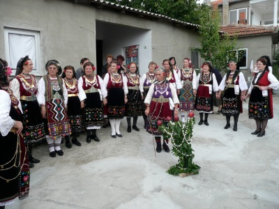 Dancing grandmothers in traditional costume celebrate a wedding with an 'apple tree' ritual in Pentalofos, Thrace, Greece. Laura, Kyria Loulouda and Kyria Stella are on the far left. Photo: Yves Moreau