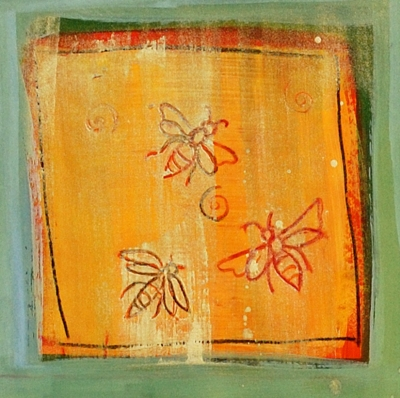 detail from The Bee Goddess Calls, painting by Judith Shaw