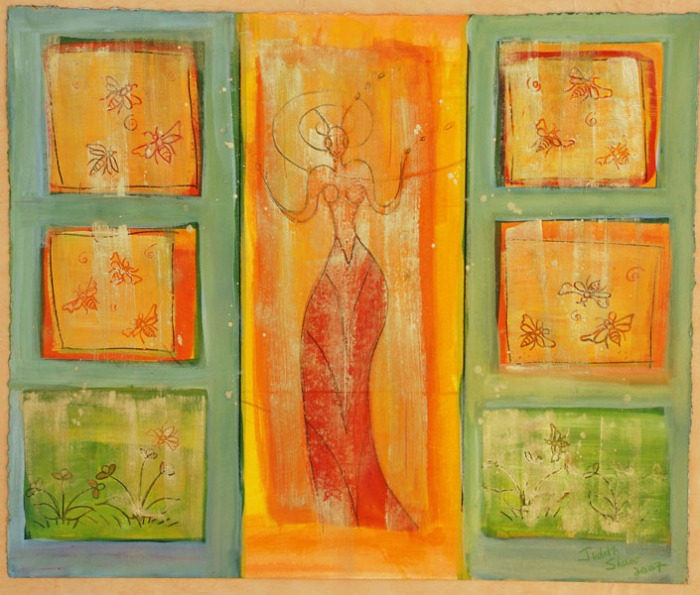 Call of the Bird Goddess, painting by Judith Shaw