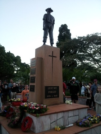 The local ANZAC Memorial just after the Dawn Service. Photo credit: K. Brunner