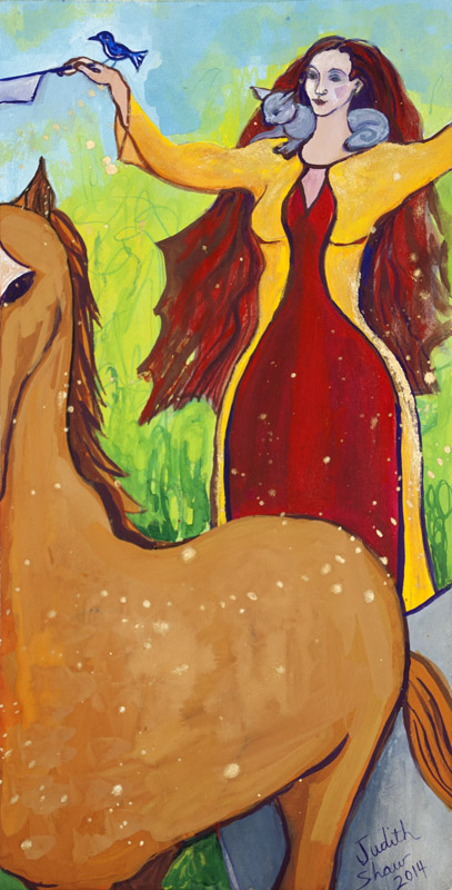 Medb, Celtic Sovereignty Goddess, painting by Judith Shaw