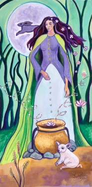 Cerridwen, Celtic Goddess, painting by Judith Shaw