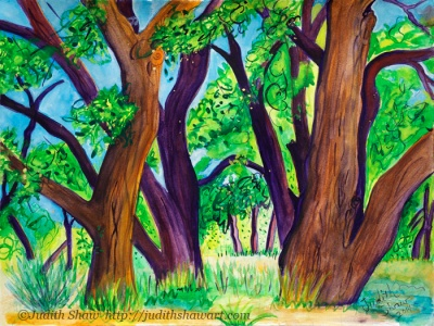 And Cottonwoods Dance, painting by Judith Shaw