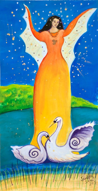Caer, Celtic Goddess, painting by Judith Shaw