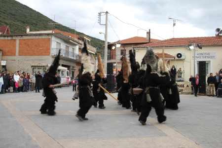 'Arapides', masked ritual dancers at Theophania (January 6) in Monastiraki (photo: Lenka Harmon)