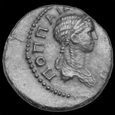 Poppaea Sabina as portrayed on a Roman coin minted 62-65 CE.