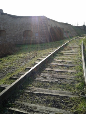 Railroad tracks added to connect Terezín to nearby Bohusvice and save the Nazis the trouble of marching the Jews 30 minutes to the camp.