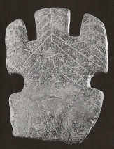 Armenian Goddess figure with upraised arms and incised leaf/tree design (Teshebaini, 1st millennium BCE)