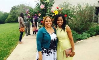 An Easter photo outside of the church with my dear friend.