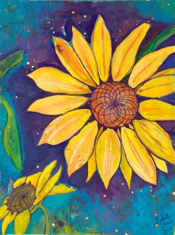 Sunflower Spiral, painting by Judith Shaw