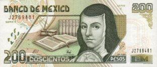 sor juana Billete_$200_Mexico_Tipo_D1_Anverso