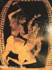 6th C BCE red-figured Attic vase showing Diki (Justice) beating Adikia (Injustice) with a mallet