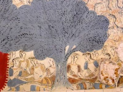 women under tree fresco