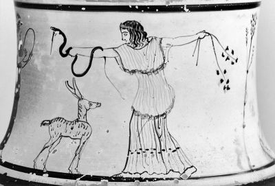 maenad dancing with snake