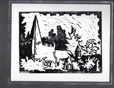 Block print of the Bradley's church by the late Johanne Renbeck