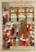 Women listening to Shaykh Baha al-Din Veled in Balkh (Rumi's father) from an adjoining room.