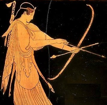Detail of Artemis from a 5th century BCE Attic Vase