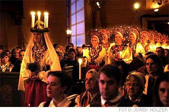 St Lucia's procession from Malungs Church, Sweden