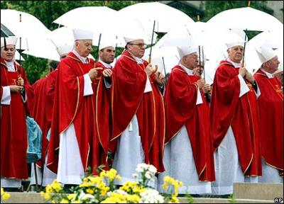 Catholic hierarchy with umbrellas