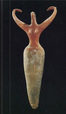 3500 BCE Egypt - Nile clay Goddess with upraised arms