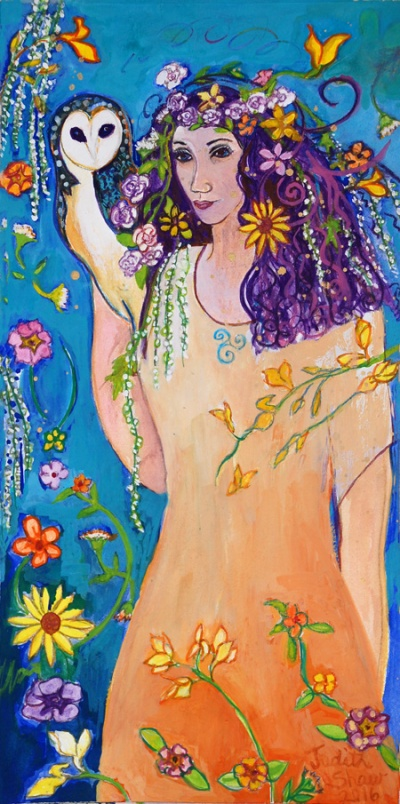 blodeuwedd, Flower Goddess painting by Judith Shaw