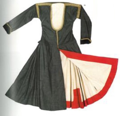 The old style of costume from Megara with strong black, white and red colours