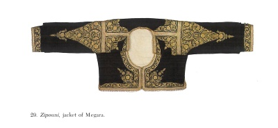 Velvet jacket (zipoúni) of Mégara with downwards-facing Goddess embroideries