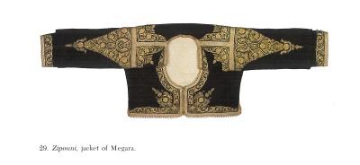 Velvet jacket (zipoúni) of Mégara with downwards-facing Goddess embroideries