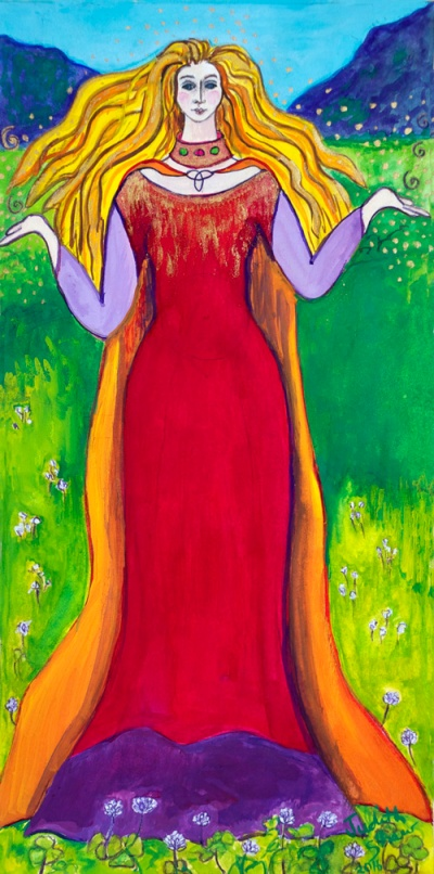 Olwen, Welsh Sun Goddes painting by Judith Shaw