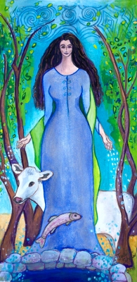Boann, Celtic Goddess of Inspiration painting by Judith Shaw