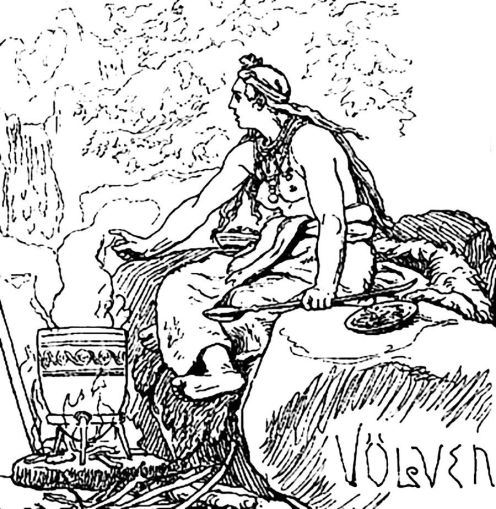 Völven, by 19th century Danish artist Lorenz Frølich. Note her distaff-shaped seidstafr, dozens of which have been found in Scandinavian women's burials around 800-1000.