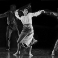 Joyful dancers move ecstatically