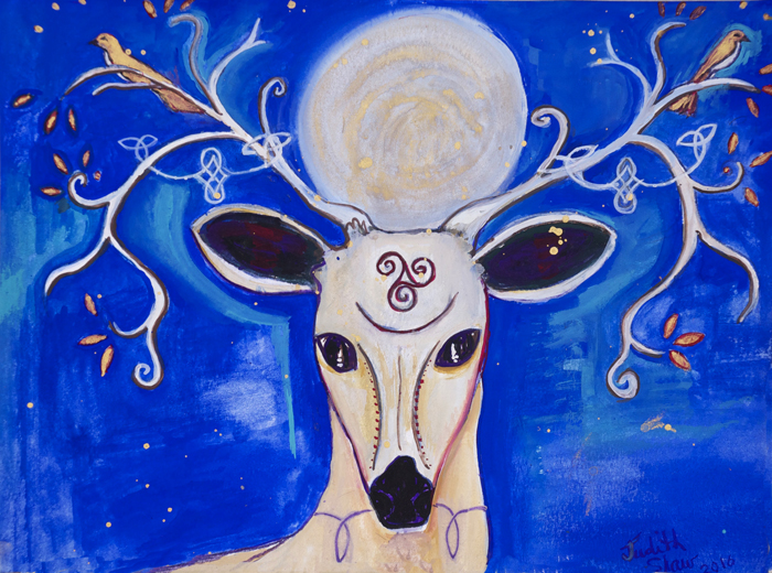 Reindeer Goddess, painting by Judith Shaw