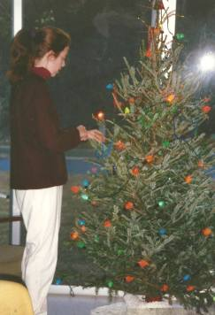 Decorating the tree in the convent's guest house