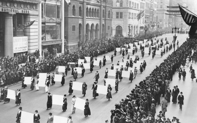Suffragists parade down Fifth Avenue, 1917 -- The New York Times Photo Archives
