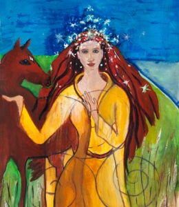 Aine, Celtic goddess painting by Judith Shaw