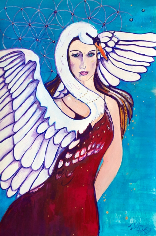 SwanSong-SwanWoman, celtic goddess art by Judith Shaw