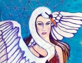 Swan Goddess cropped painting by Judith Shaw